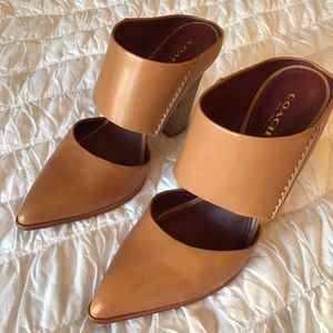 Coach leather block heel